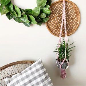 "Macrame Plant Hanger Pink White Braided Rope 43"""